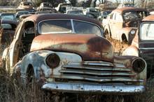 Vintage Car Standing On Wreckage Junk Yard, Oklahoma