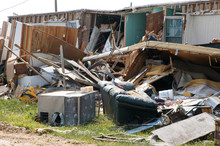 Destroyed House After Hurricane Landfall In Louisiana