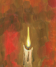 Oil Painting. Burning Candle. ...