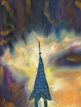 Oil Painting. Tower With A Spi...