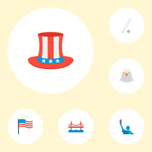 Set Of America Icons Flat Style Symbols With Liberty Statue, Eagle Head, Baseball And Other Icons For Your Web Mobile App Logo Design.