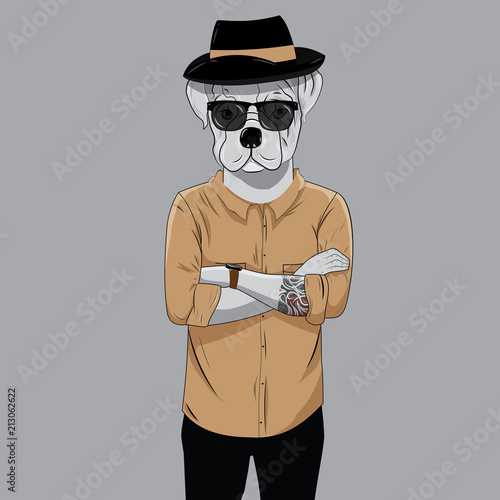 Photo Bulldog dressed up in black t-shirt and sunglasses