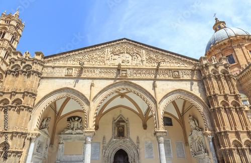 Famous gothic portico by Domenico and Antonello Gagini, Cathedral in Palermo, Sicily