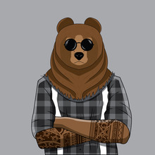Bear Dressed Up In Plaid Shirt...