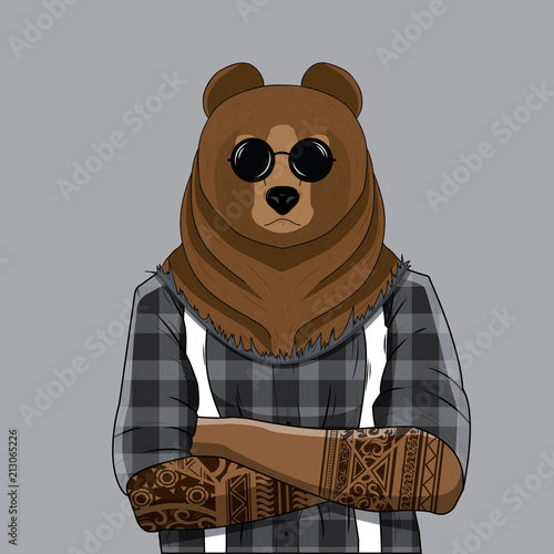 Photo Bear dressed up in plaid shirt with tattoo