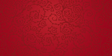 Red Floral Ornament Design For Background. Dark Swirls And Leaves On Red Surface.