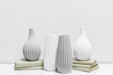 Four Vases On Books; Vases Wit...