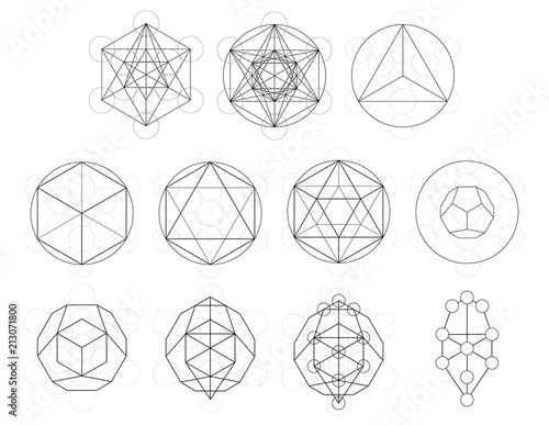 Set of geometrical elements and shapes. Sacred Geometry Metatron Cube development. Vector designs Wall mural