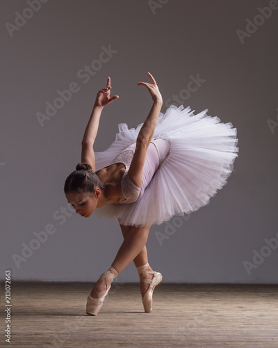 Young beautiful ballerina is posing in studio Canvas Print