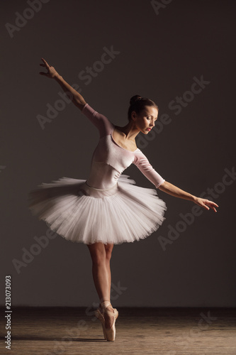 Fototapeta Young beautiful ballerina is posing in studio