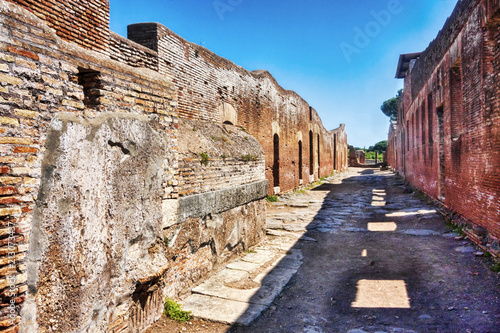In de dag Rudnes Archaeological Roman empire street view in Ostia Antica - Rome - Italy