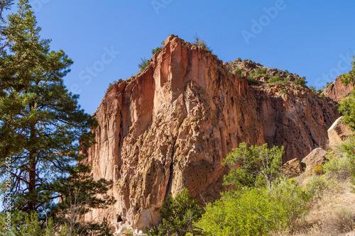 Fotografie, Obraz  Bandelier National Monument Cliff with Blue Sky