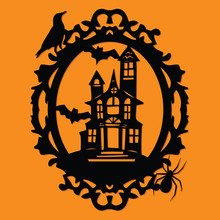 Paper Cut Silhouette Halloween Spooky Manor Mansion Frame