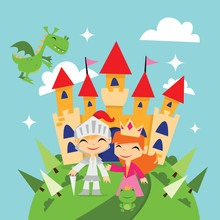Retro Magical Fairytale Kingdom Princess And Knight