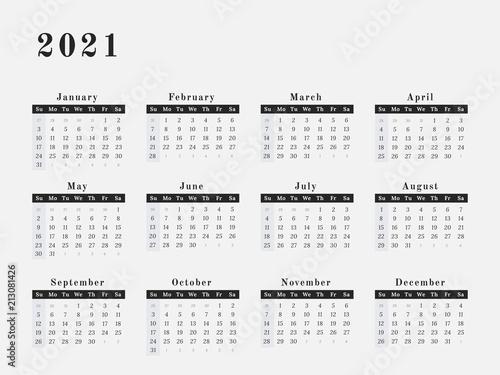 Fotografia  2021 Year Calendar horizontal design