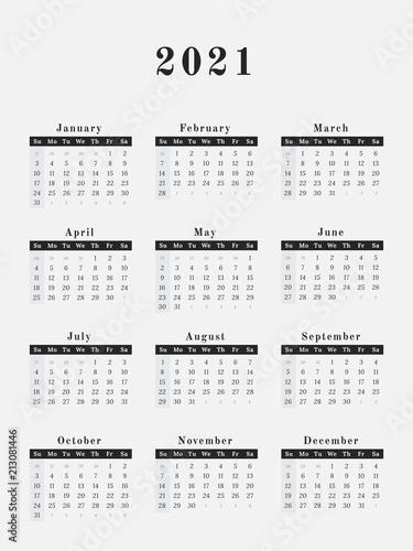 Poster  2021 Year Calendar vertical design