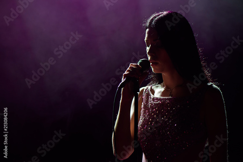 Fotomural close up image of live singer on stage