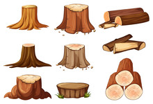 A Set Of Tree Stump And Timber