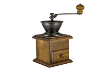 Vintage Manual Coffee Grinder Isolate On White Background