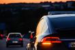 Electric car at dusk