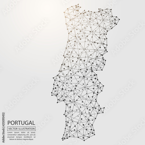 Photo A map of Portugal consisting of 3D triangles, lines, points, and connections