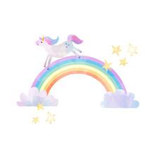 Watercolor Unicorn Vector Illustration