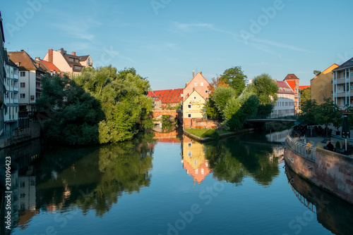 Pegnitz river in a Nurembert town. Germany.