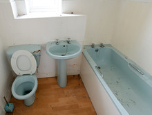 Filthy And Dusty Blue Coloured Bathroom Suite