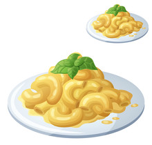 Macaroni And Cheese Isolated On White Background. Detailed Vector Icon