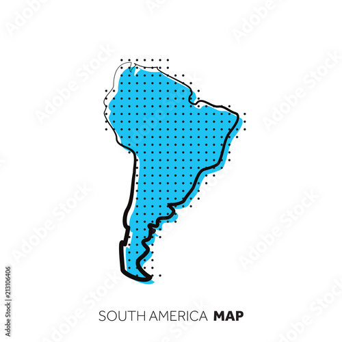 Fotografía  South America vector country map. Map outline with dots.