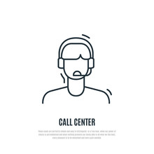 Customer Service Icon. Operator Of Contact Centre With Headphone. Line Art Style.  Vector Illustration