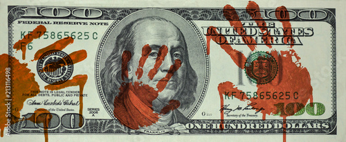 Fotografia, Obraz 100 dollar bill is stained with bloody hands