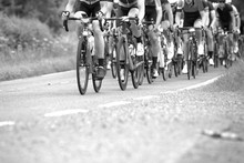 Cyclists On Bikes In A Race