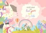 Cute magic unicorns and castle