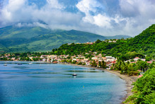 Paradise Coast At Saint Pierre With Mt. Pelee, Active Volcanic Mountain In Martinique, Caribbean Sea