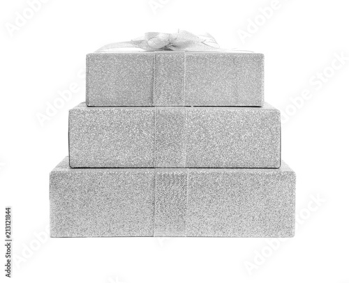 Fotografie, Obraz  Beautiful gift boxes on white background