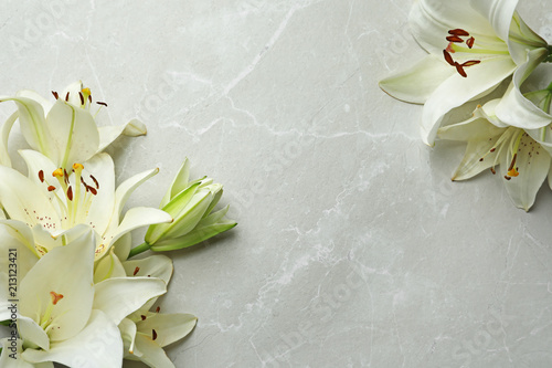 Flat lay composition with lily flowers on light background Fototapete