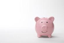 Pink Piggy Bank On White Background. Money Saving