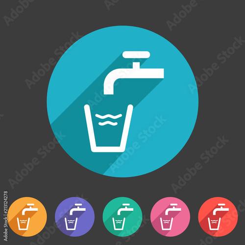 Cuadros en Lienzo Drinking water point tap icon flat web sign symbol logo label