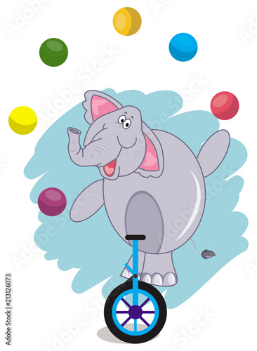 Circus elephant juggling with a colorful ball and riding a unicycle Poster