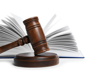 Wooden Gavel And Book On White Background. Law Concept