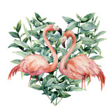 Watercolor heart with pink flamingo and eucalyptus leaves. Hand painted pink flamingo and leaves isolated on white background. Floral illustration for design, fabric, card. - 213130692