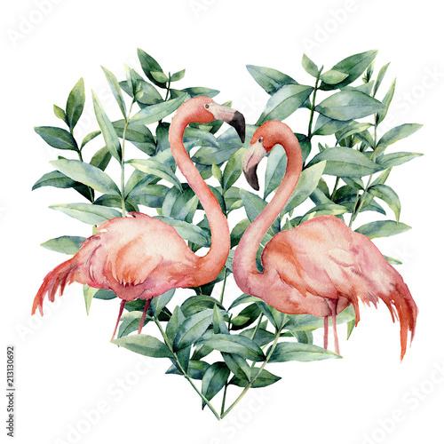 akwarele-serca-z-rozowymi-flamingami-i-liscmi-eukaliptusa-recznie-malowane-rozowy-flaming-i-liscie-na-bialym-tle-ilustracja-kwiatowy-dla-projektu-tkaniny-karty