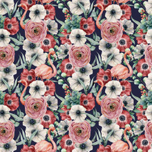Watercolor Seamless Pattern With Flowers And Pink Flamingo. Hand Painted Red And White Anemone, Ranunculus, Eucalyptus Leaves Isolated On Dark Blue Background. Botanical Print For Design Or Print.