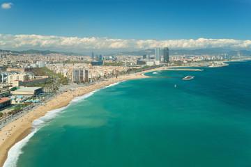 Fototapeta Aerial view of Barcelona, Barceloneta beach and Mediterranean sea in summer day at Barcelona, Spain.
