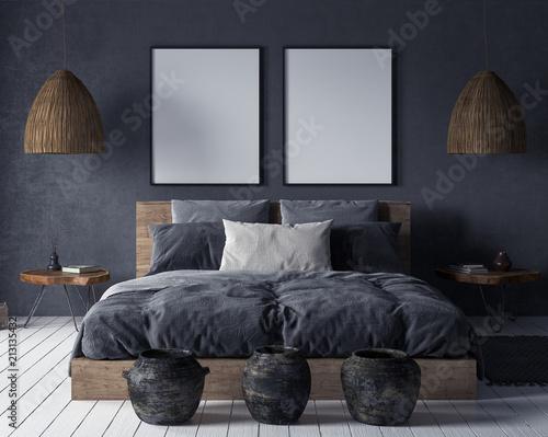 Foto auf AluDibond Boho-Stil Mock up poster in bedroom interior,ethnic style, 3d render