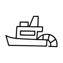 Cute Boat Cartoon Illustration...