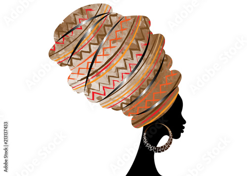 portrait beautiful African woman in traditional turban, Kente head wrap African, Canvas-taulu