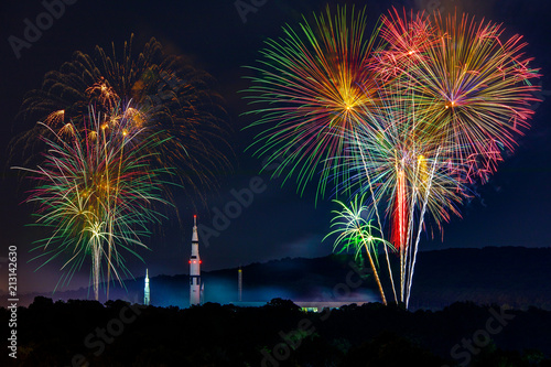Fireworks light up the Saturn V rocket in Huntsville AL