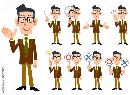 Fotografía  眼鏡をかけて茶色のジャケットを着た男性の9種類の表情と仕草